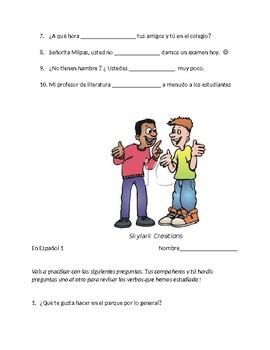En Espanol 1 Unidad 2 etapa 3  30 Questions for oral exam & Practice w/-ER verbs