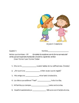 Spanish 1   ------      30 Questions for oral exam and Practice with  -ER verbs
