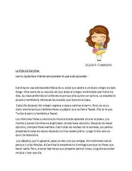En Espanol 1 Unidad 2 etapa 3 Reading Comprehension using