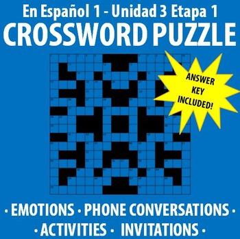 En Espanol 1 - Unidad 3 Etapa 1 - Crossword Puzzle