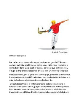 Spanish 1  El Mundo de Deportes Reading comprehension