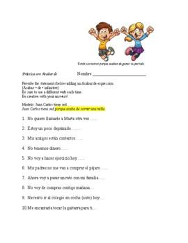 Spanish 1  Writing & Speaking Practice w/ Acabar de + Inf.