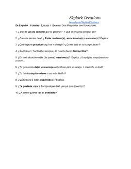En Espanol 1 Unidad 3 etapa 1 Preguntas con vocabulario