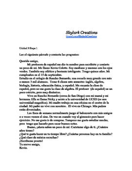 En Espanol 1 Unidad 3 etapa 1 Reading Comprehension