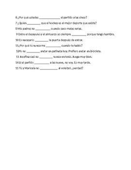 En Espanol 1 Unidad 3 etapa 2 Practice with stem changing verbs