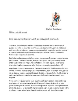 En Espanol 1 Unidad 4 etapa 1  Reading / Story using vocab