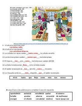 En Español 2 4.3 Vocabulary, Comparatives, Superlatives Quiz