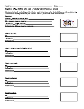 U2E2 Unidad 2 Etapa 2 Habia Una Vez En Espanol Vocabulary Worksheet