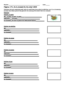 U2E3 En La Ciudad En Espanol Spanish Vocabulary Worksheet