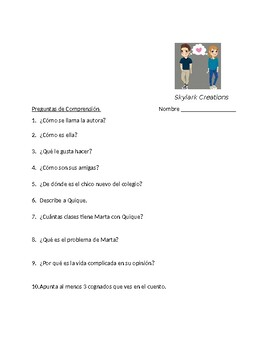En Espanol 1 Unidad 1 etapa 3  Reading Comprehension with  questions