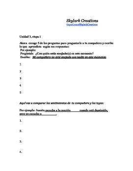 En Espanol 1 Unidad 3 etapa 1 Los Sentimientos  questions and comparisons