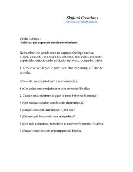 En Espanol 1 Unidad 3 etapa 1 Los Sentimientos  questions