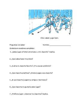 En Espanol 1 Unidad 3 etapa 2 Preguntas para Companeros w/ saber & about sports