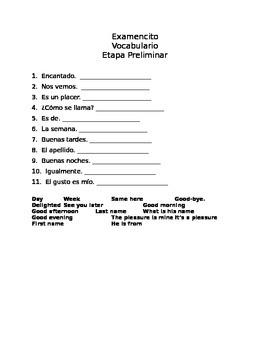 En Español, Level 1, Etapa preliminar, short quiz