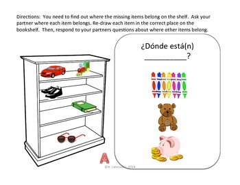 En Mi Estante:  Prepositional Phrase Activities