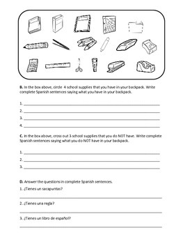en mi mochila spanish school supplies worksheet tpt. Black Bedroom Furniture Sets. Home Design Ideas