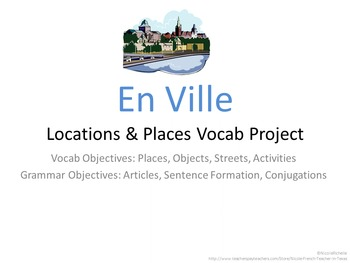 En Ville, Locations, Places Vocabulary Project for French Students