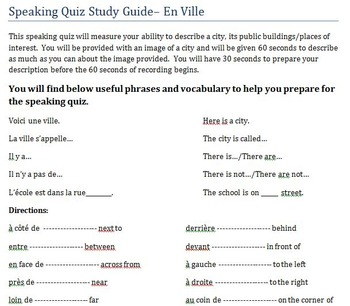 En Ville Speaking Assessment with Study Guide
