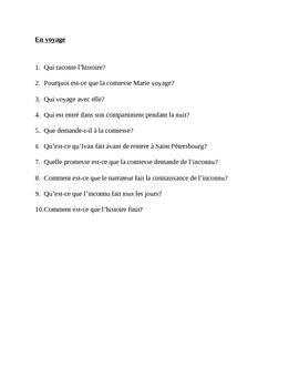 En Voyage reading quiz in French