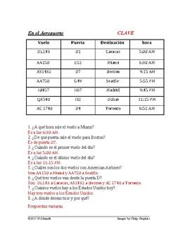 En el aeropuerto ~ Spanish Airport Worksheet ~ Question Words and Telling Time