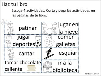 En el invierno Spanish Reader & Build-A-Book for Winter
