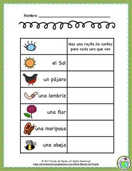 En el jardín Spring Spanish Mini Theme Pack Minibook, Props & Activity Page