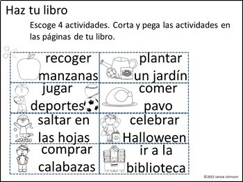 En el otoño Spanish Reader & Build-A-Book for fall / autumn