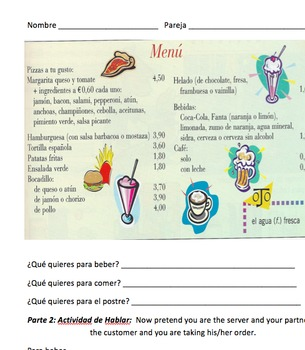 En el restaurante: Speaking activity to prepare for restuarant scenarios