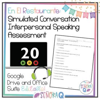 En el restaurante: Simulated Conversation Speaking Test-Script & Student Outline