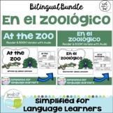 En el zoológico ~ At the Zoo ~ Zoo Animal Readers & BOOM task cards {Bilingual}