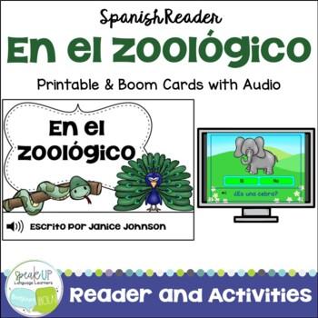 En el zoológico Spanish Zoo Animal Reader & Cut & Paste