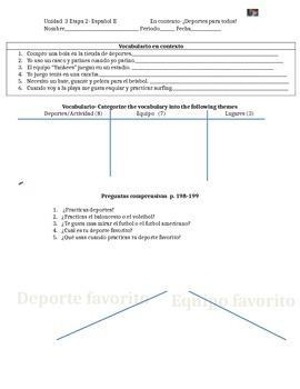 En español 1- En contexto Unidad 3 Etapa 2- Deportes