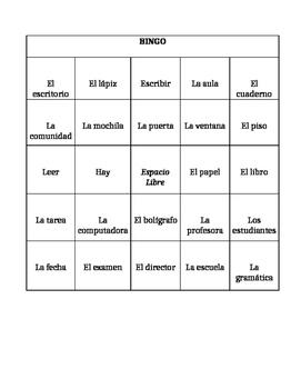 En la Escuela Bingo - Bingo with School Vocabulary - Spanish