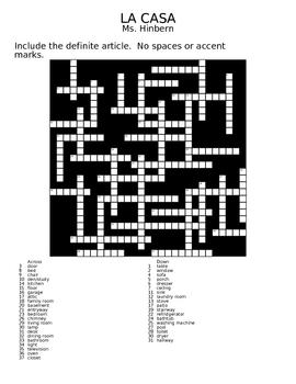 """""""En la casa"""" Unit Crossword"""