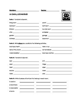 """""""En la casa"""" Unit Worksheet 1"""