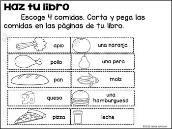 En mi almuerzo Spanish Lunch Foods Reader & Build-A-Book