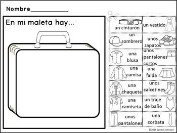 En mi maleta Spanish Clothing Reader {libro en español} & Cut & Paste Activity