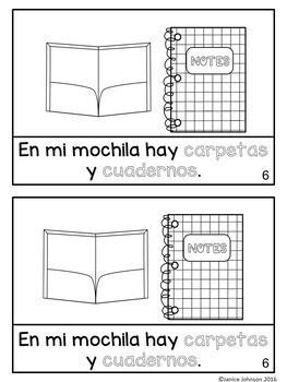 En mi mochila ~ In My Backpack ~ School object/la escuela Readers {Bilingual}