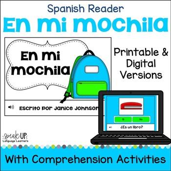 Spanish School Supply Reader {En mi mochila} & Cut & Paste