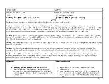Updated EnVision 2.0 First Grade Math Topic 2