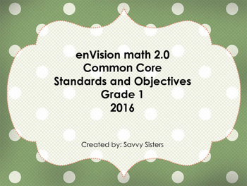 EnVision 2.0 alligned Math Objectives with CC Standards - Grade 1