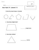 EnVision 2.0 Math Quiz - Topic 14 - Grade 1