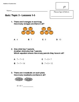 EnVision 2.0 Math Quiz - Topic 3 - Grade 1