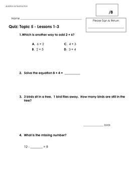 EnVision 2.0 alligned Math Quiz - Topic 5 - Grade 1