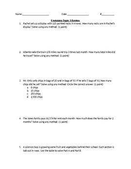 EnVision 4th Grade – Topic 3 Test Review - Editable