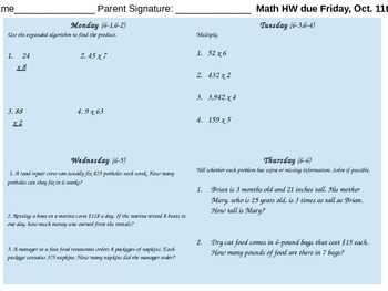 EnVision Fourth Grade Weekly Homework