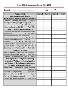 EnVision Kindergarten Assessment Recording Sheet