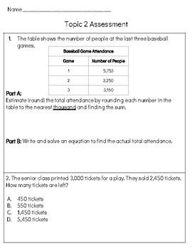 EnVision Math 2.0 4th Grade Cumulative Assessment Topic 1-2