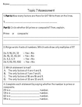 EnVision Math 2.0 4th Grade Cumulative Assessment Topic 7