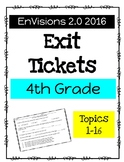EnVision Math 2.0 4th Grade Exit Tickets Bundle Topics 1-16